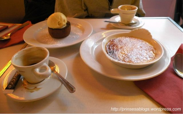 Deux cafe et creme brulee, si'l vous plait...and a molten chocolate cake, too